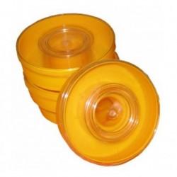 Alimentadores redondos amarillos de 1 kilo.